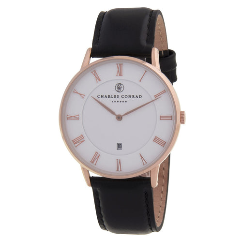 Charles Conrad Rose Gold & Black Watch CC03000 (Black Clasp)