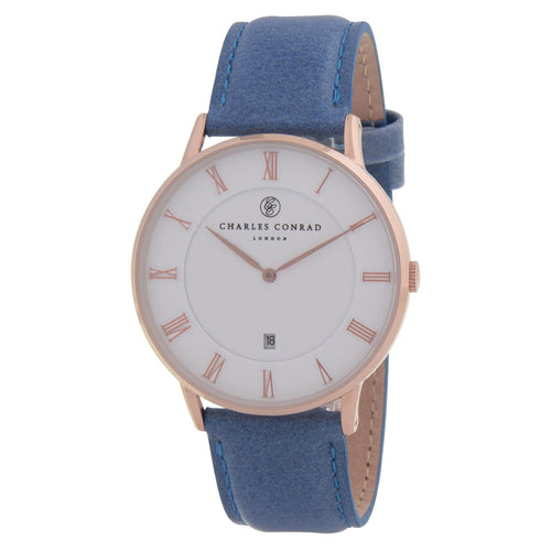 Charles Conrad Gold & Blue Leather Watch CC03001