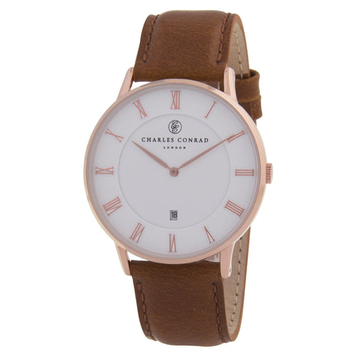 Charles Conrad Rose Gold & Brown Leather Watch CC03002
