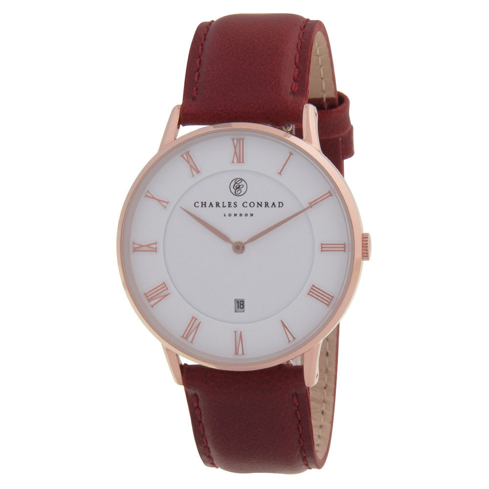 Charles Conrad Rose Gold & Red Leather Watch CC03003