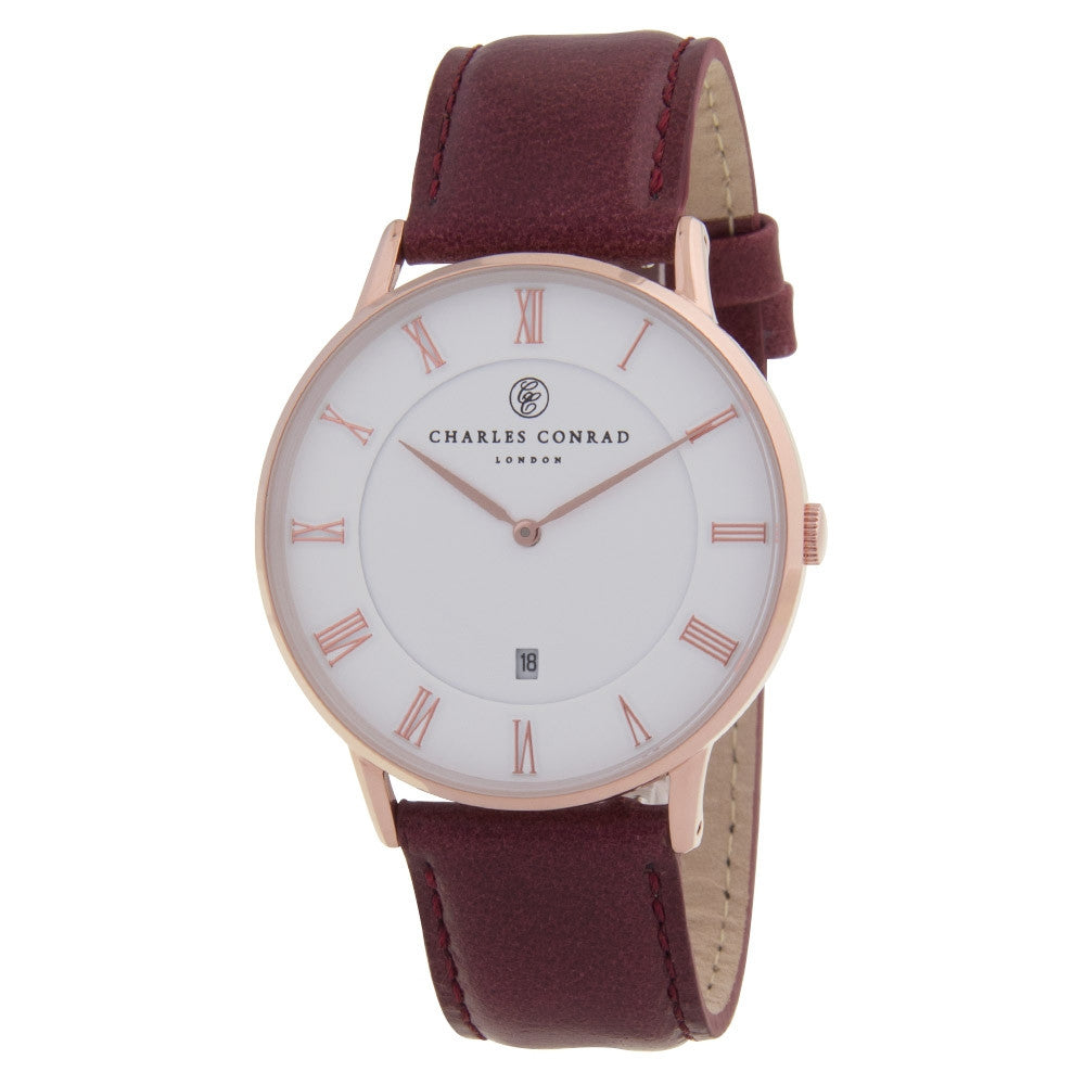 Charles Conrad Rose Gold & Burgundy Leather Watch CC03004