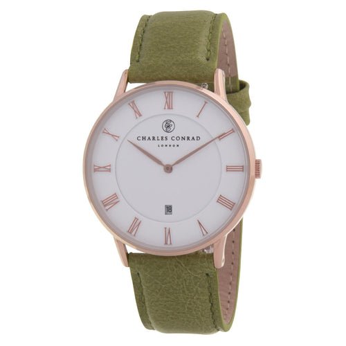 Charles Conrad Rose Gold & Green Leather Watch CC03005