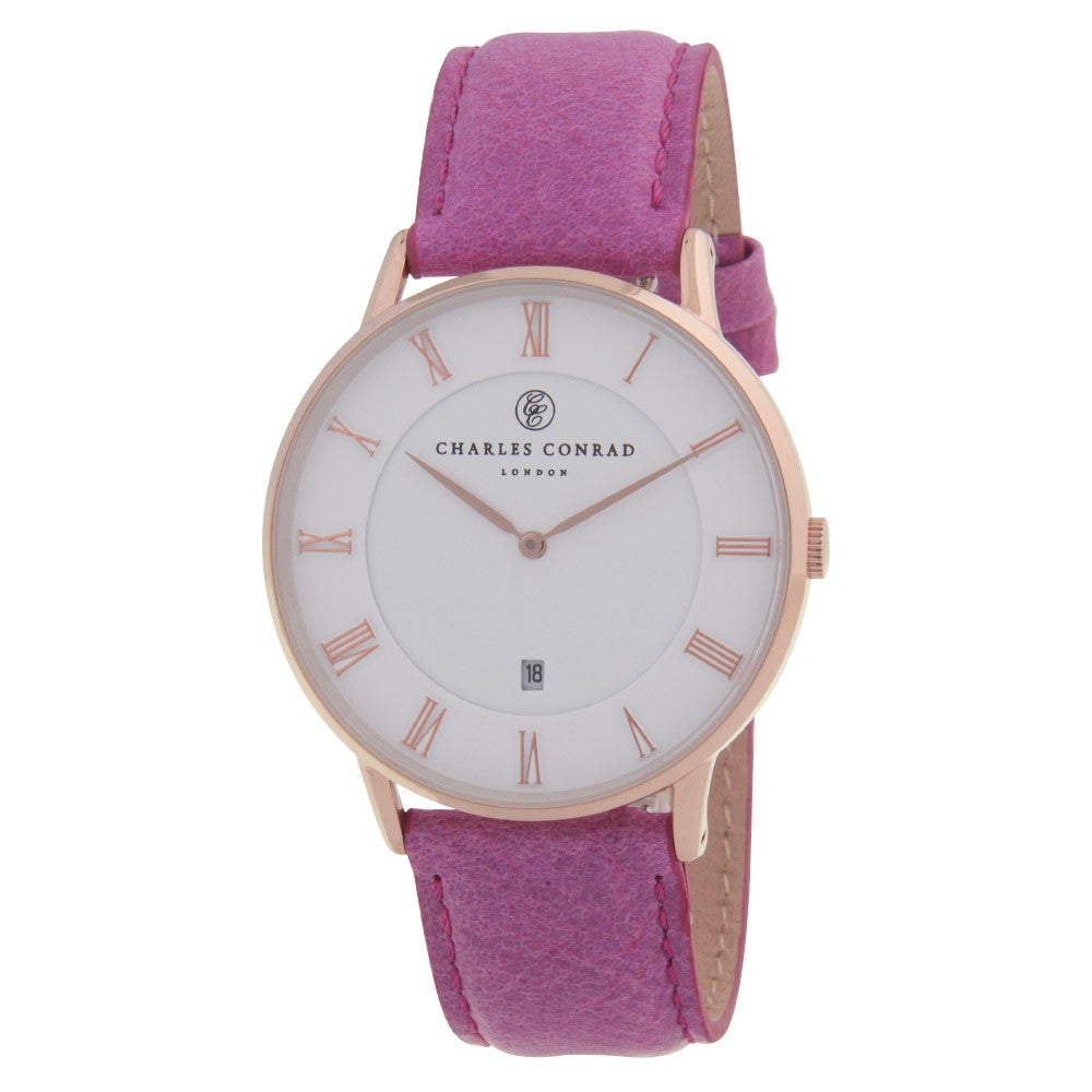 Charles Conrad Rose Gold & Pink Leather Watch CC03006