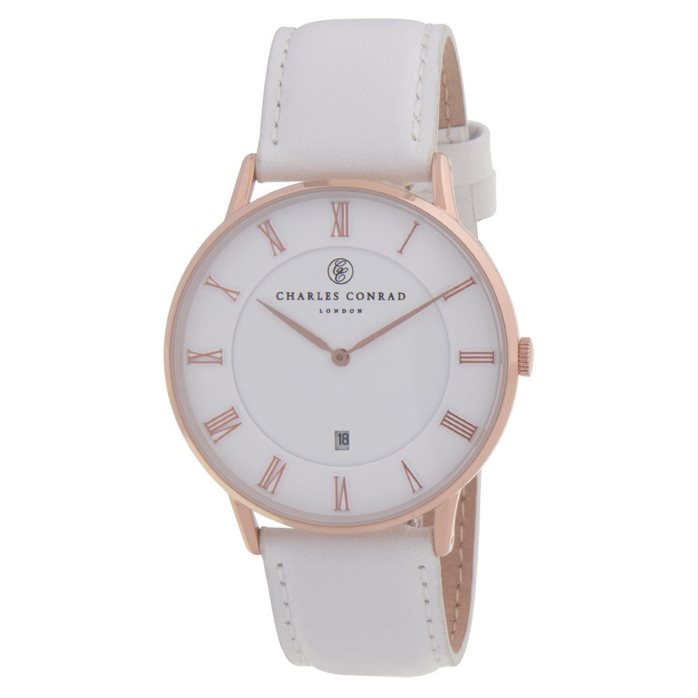 Charles Conrad Rose Gold & White Leather Watch CC03007
