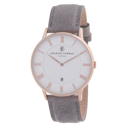 Charles Conrad Rose Gold & Grey Leather Watch CC03008