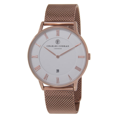 Charles Conrad Rose Gold Mesh Watch CC03009