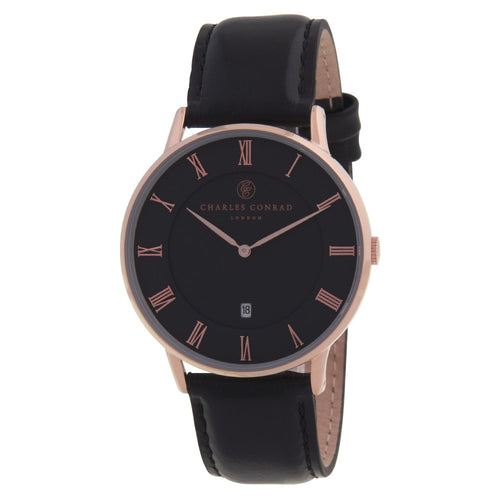 Charles Conrad Rose Gold & Black Leather Watch CC03010