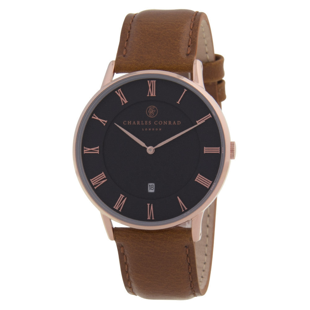 Charles Conrad Black, Rose Gold & Brown Leather Watch CC03012