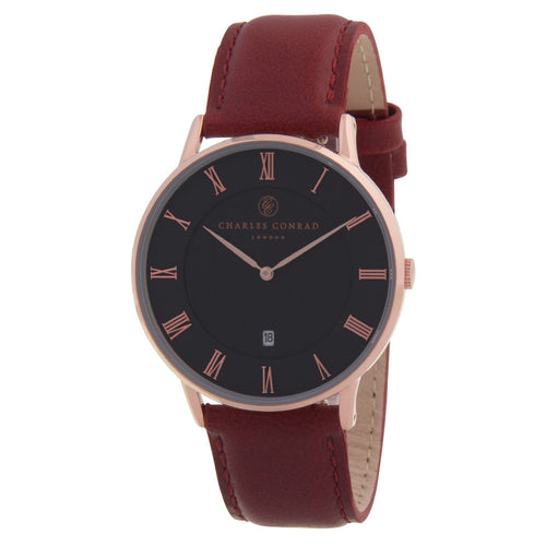 Charles Conrad Black, Rose Gold & Red Leather Watch CC03013