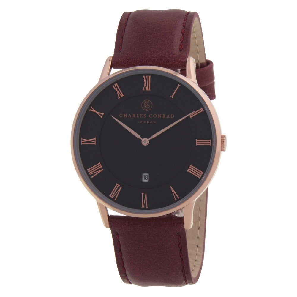 Charles Conrad Black, Rose Gold & Burgundy Leather Watch CC03014