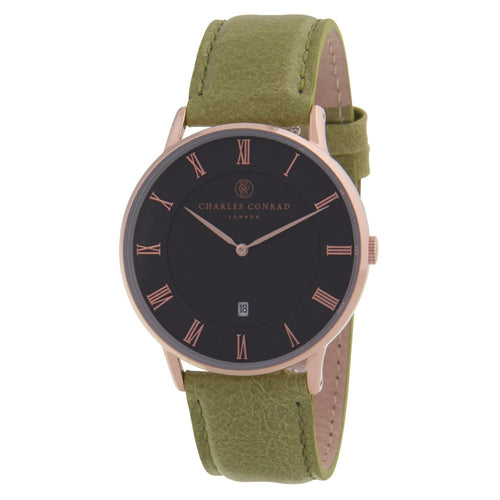 Charles Conrad Black, Rose Gold & Green Leather Watch CC03015