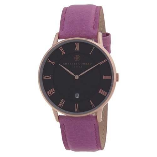 Charles Conrad Black, Rose Gold & Pink Leather Watch CC03016