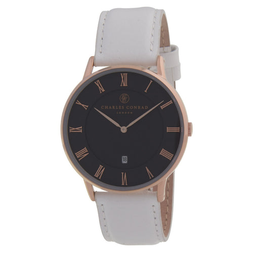 Charles Conrad Black, Rose Gold & White Leather Watch CC03017