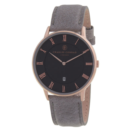 Charles Conrad Black, Rose Gold & Grey Leather Watch CC03018