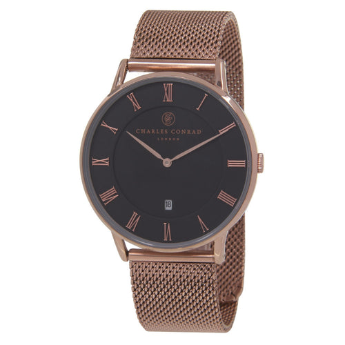 Charles Conrad Black & Rose Gold Mesh Watch CC03019