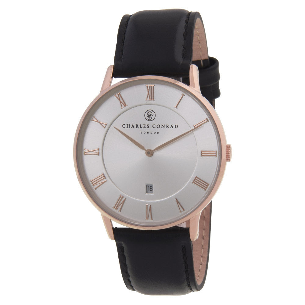 Charles Conrad Silver-Faced Rose Gold & Black Leather Watch CC03020