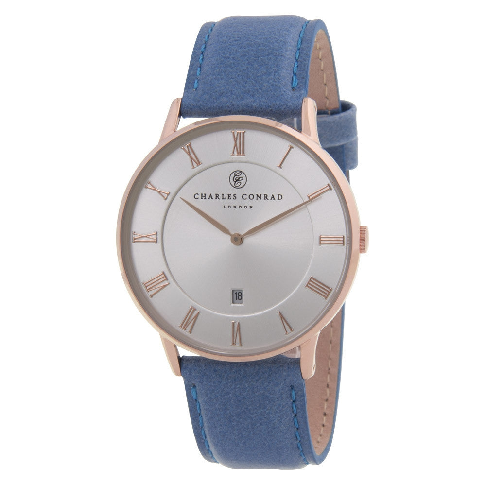 Charles Conrad Silver-Faced Rose Gold & Blue Leather Watch CC03021