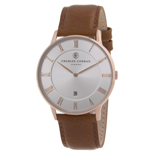 Charles Conrad Silver-Faced Rose Gold & Brown Leather Watch CC03022