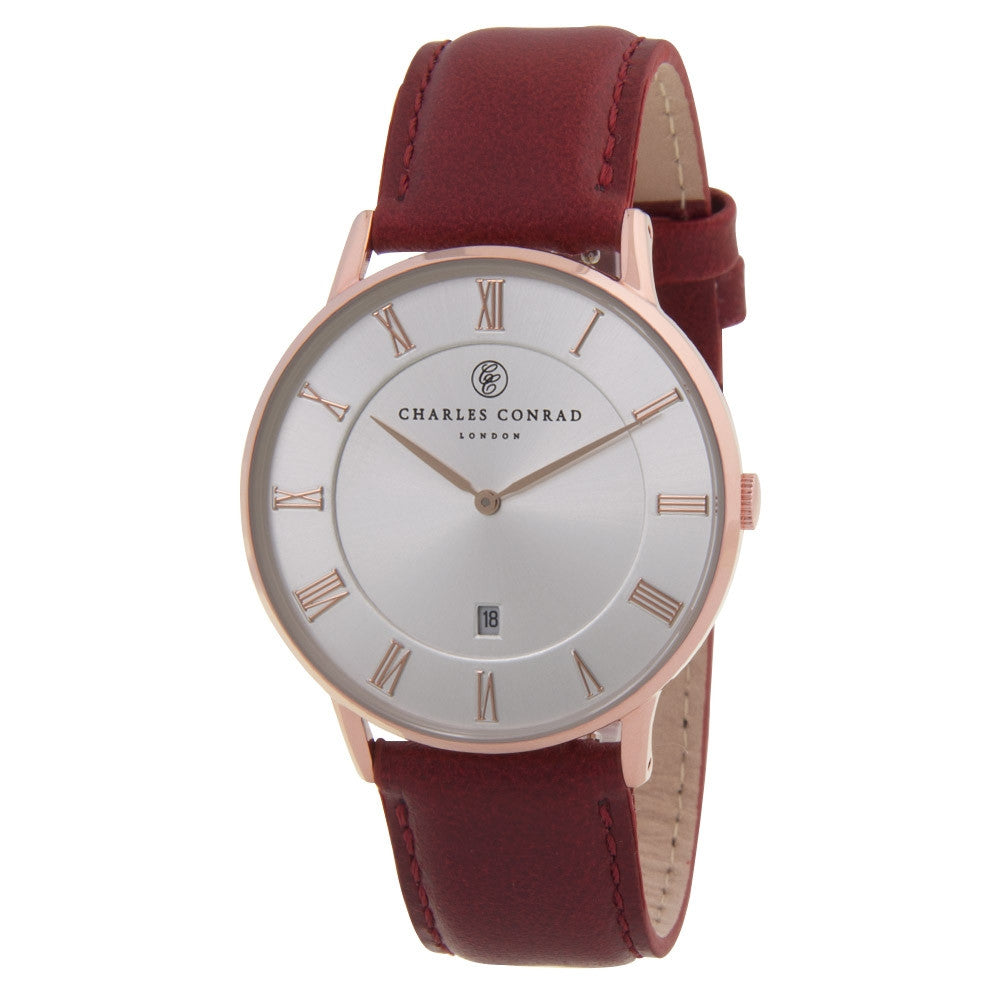 Charles Conrad Silver-Faced, Rose Gold & Red Leather Watch CC03023