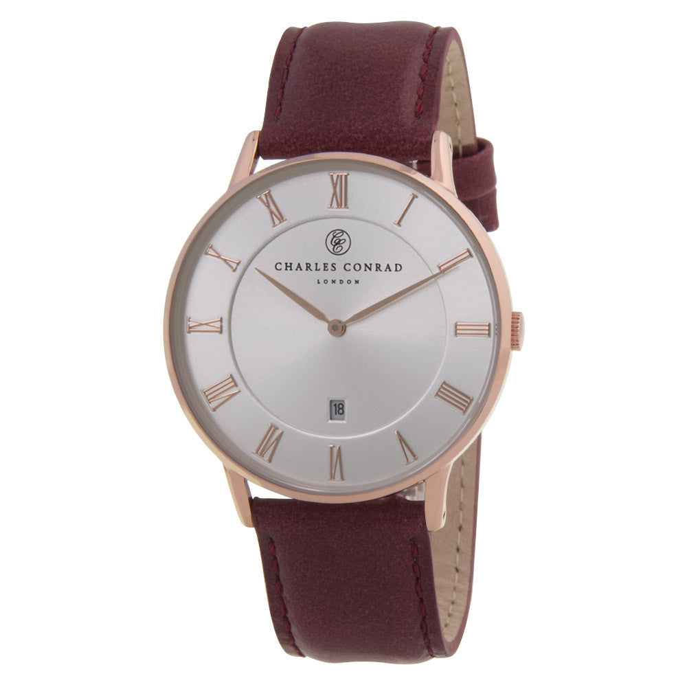 Charles Conrad Silver-Faced Red Leather Watch CC03024