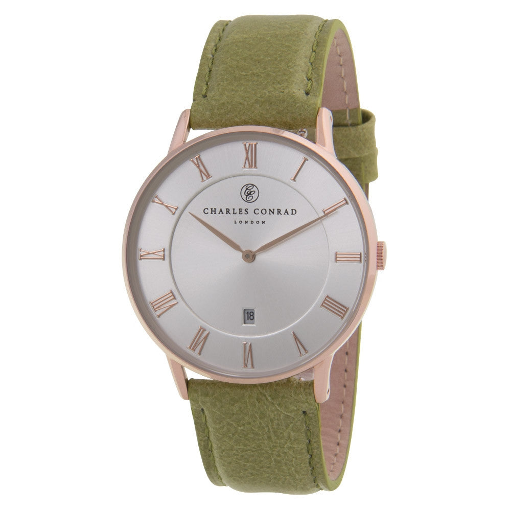Charles Conrad Silver-Faced Rose Gold & Green Leather Watch CC03025