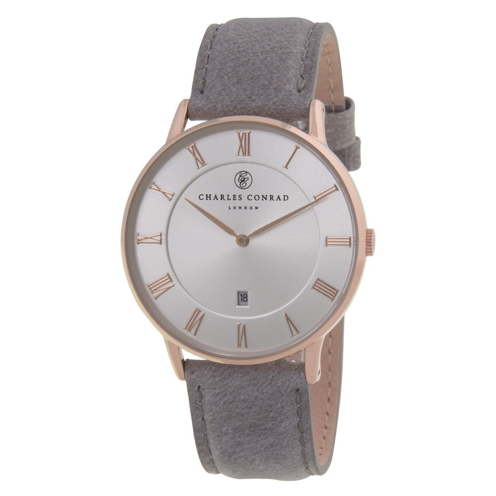 Charles Conrad Silver-Faced Rose Gold & Grey Leather Watch CC03028