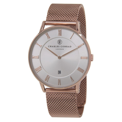 Charles Conrad Silver-Faced Rose Gold Mesh Watch CC03029