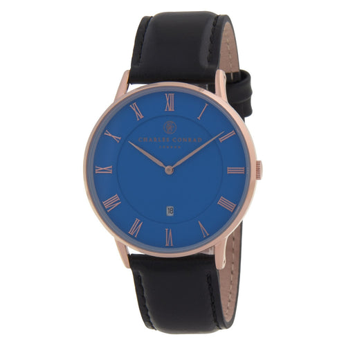 Charles Conrad Blue, Rose Gold & Black Leather Watch CC03030