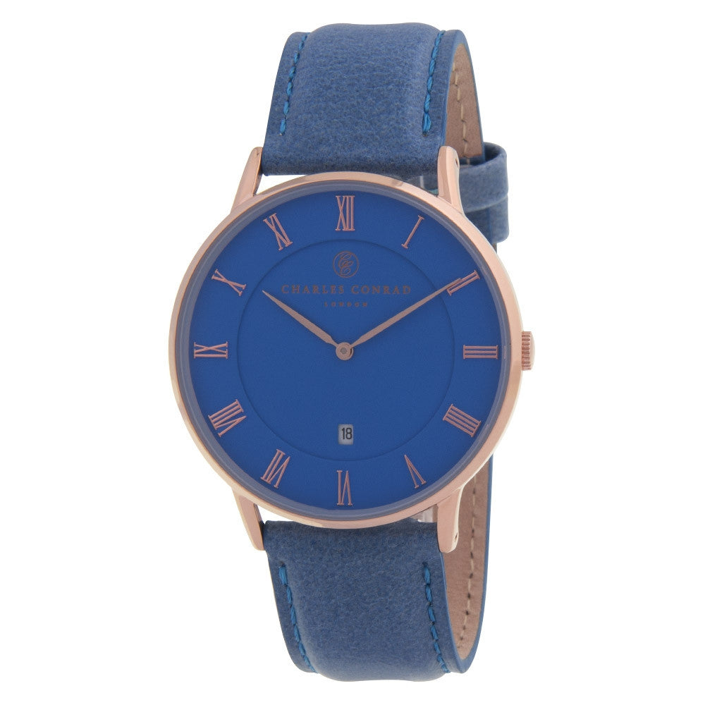 Charles Conrad Blue & Rose Gold Leather Watch CC03031