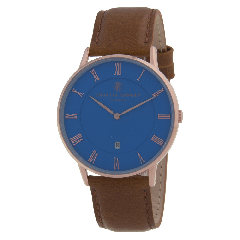 Charles Conrad Blue & Brown Leather Watch CC03032
