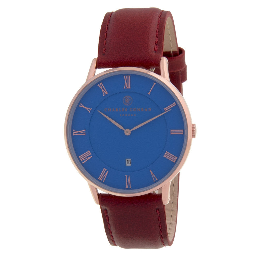 Charles Conrad Blue, Rose Gold & Red Leather Watch CC03033