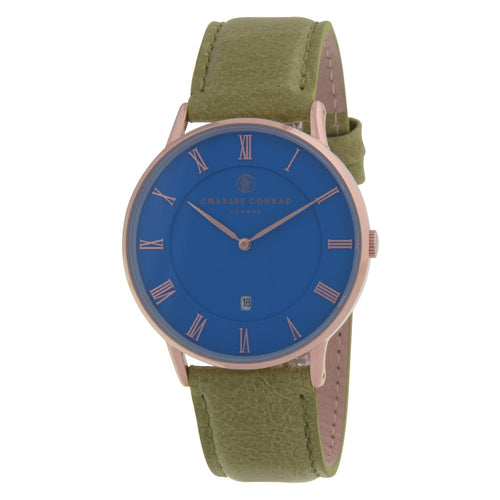 Charles Conrad Blue, Rose Gold & Green Leather Watch CC03035