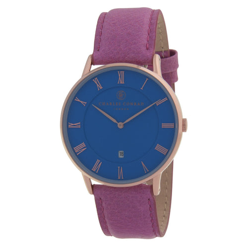 Charles Conrad Blue, Rose Gold & Pink Leather Watch CC03036