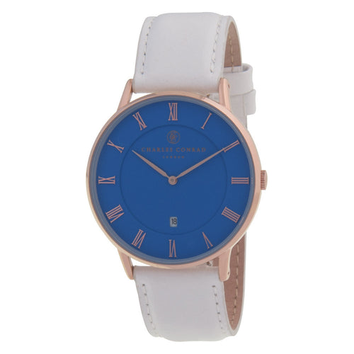 Charles Conrad Blue, Rose Gold & White Leather Watch CC03037