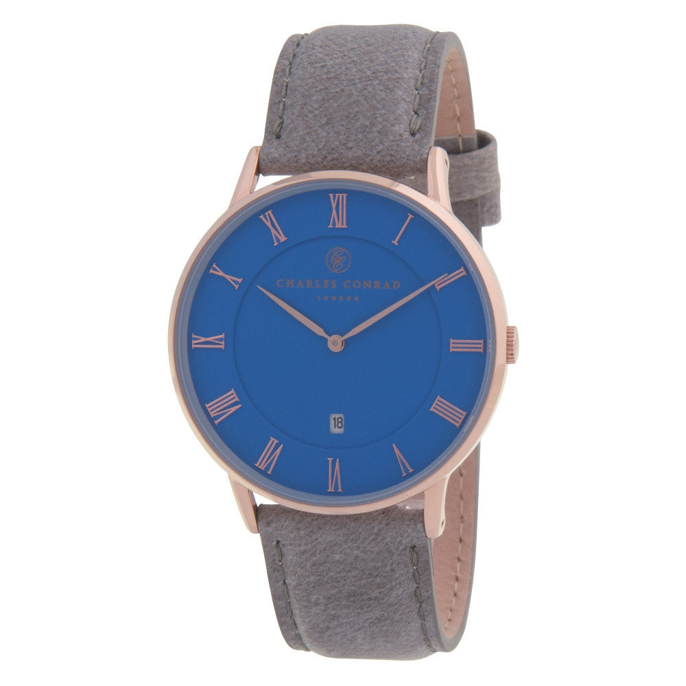 Charles Conrad Blue, Rose Gold & Grey Leather Watch CC03038