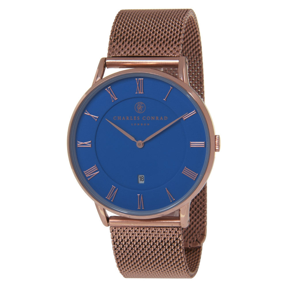 Charles Conrad Blue & Rose Gold Mesh Watch CC03039