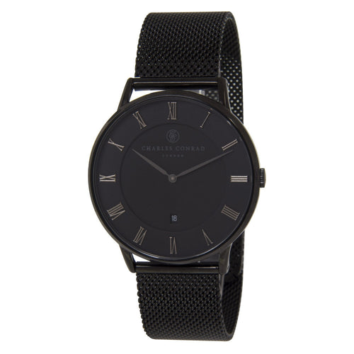 Charles Conrad All Black Mesh Watch CC04000