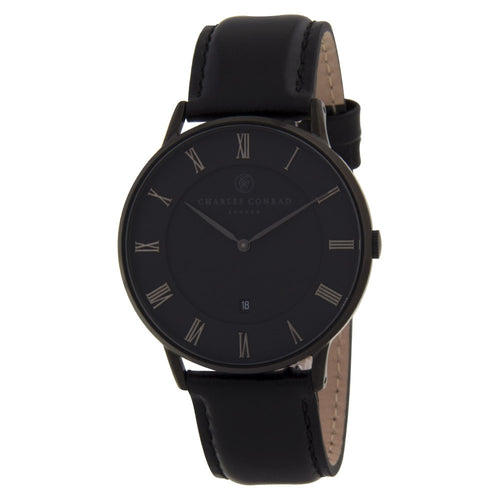 Charles Conrad All Black Leather Watch CC04004 (silver clasp)