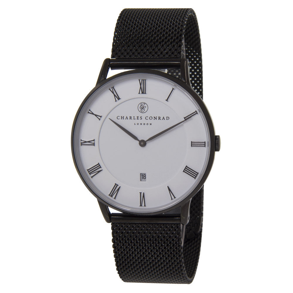 Charles Conrad Black Mesh Watch CC05000 (Black Clasp)