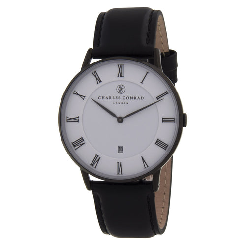 Charles Conrad Black Leather Watch CC05004 (silver clasp)
