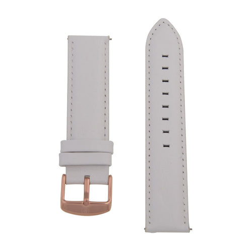 Charles Conrad White Leather Strap CDA1006-18-L25 (rose gold buckle)