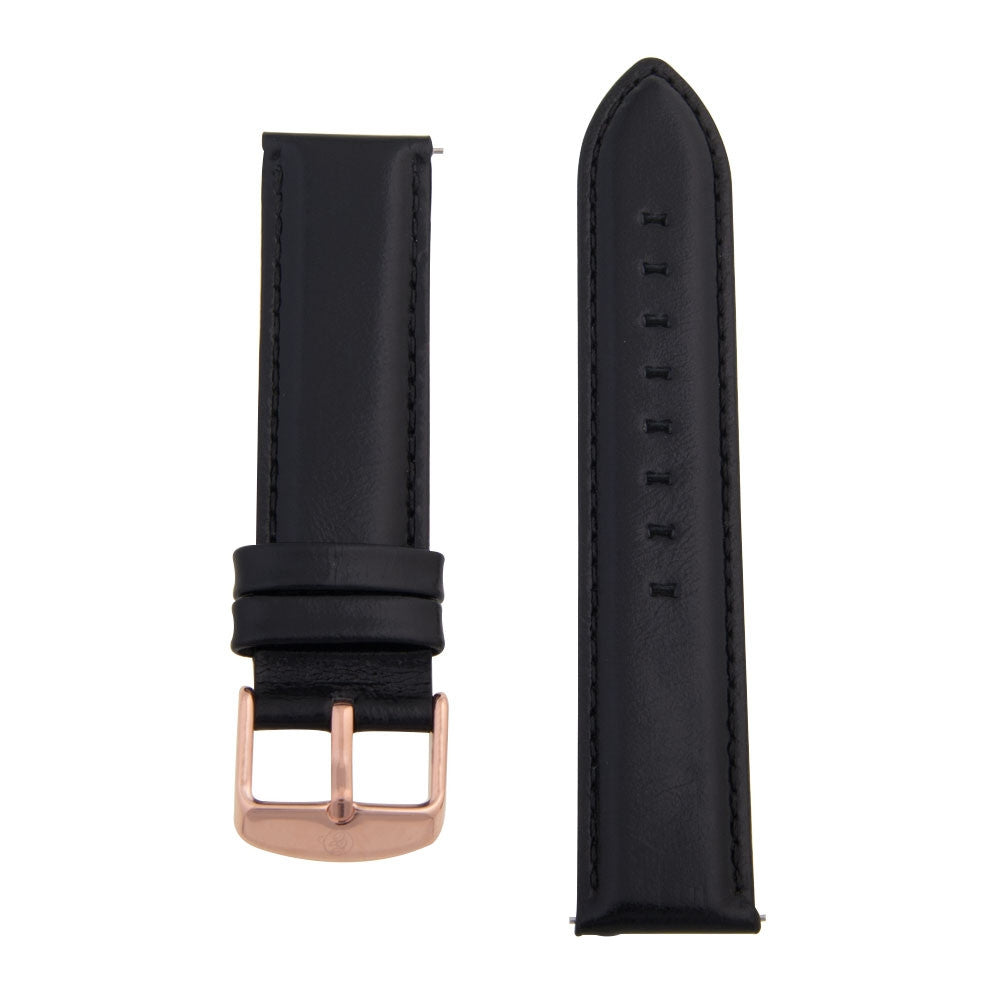 Charles Conrad Black Leather Strap CDA1006-18-L3 (rose gold)