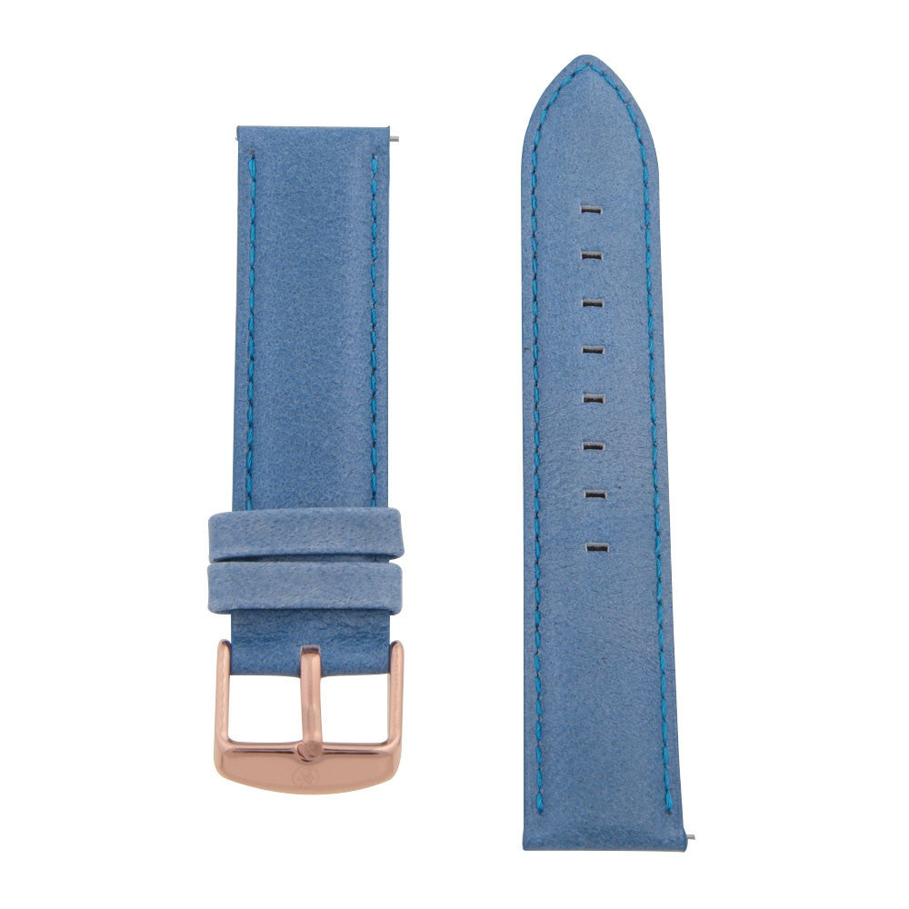 Charles Conrad Blue Leather Strap CDA1006-18-L6 (rose gold buckle)