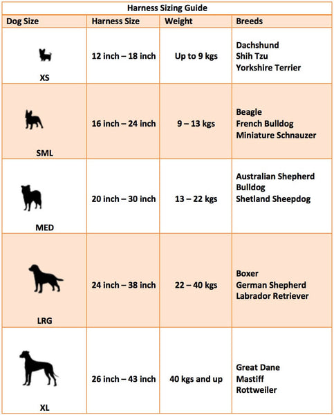 Dog harness sizing guide
