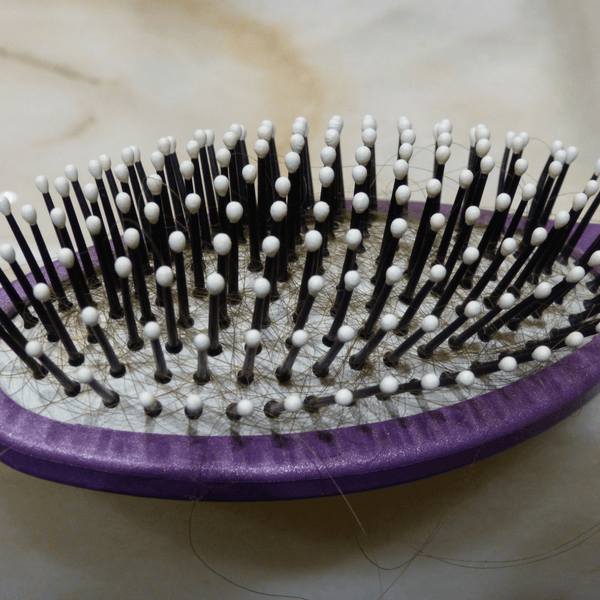 Pin brush with hair