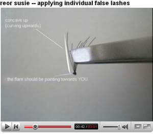Susie's video tutorial  for individual lashes.