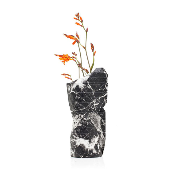 Paper Vase Cover - Marble Black (Small)