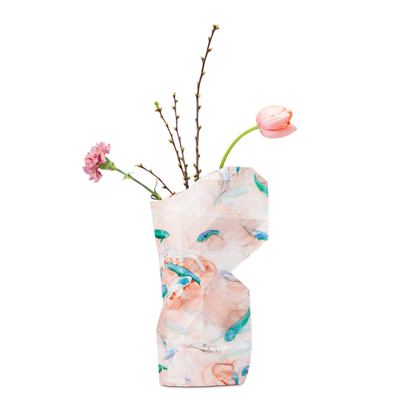 Paper Vase Cover - Pink Fish