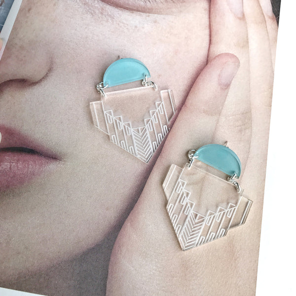 Ann Earrings (Clear/Blue-L)