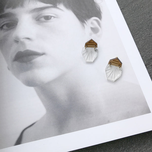 Luce Earrings (Clear/Wood-S)